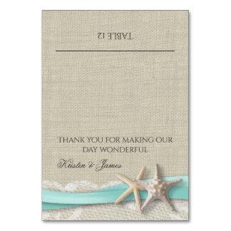 Laço da estrela do mar e cartão do lugar da fita