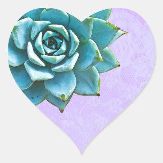 Laço da lavanda da aguarela do Succulent Adesivo Coração