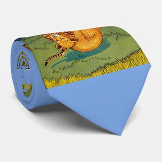 laço da novidade do impressão da luta do tigre e gravata