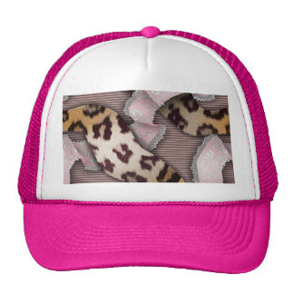 Laço de n dos leopardos '- rosa pastel - bone