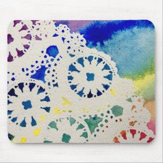 Laço do arco-íris/impressão Mousepad aguarela da