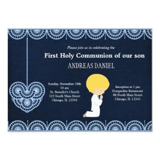 Laço do comunhão santamente (menino) convite personalizados