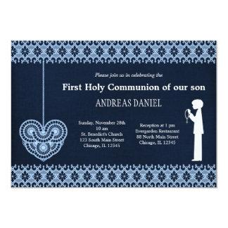 Laço do comunhão santamente (menino) convite personalizado