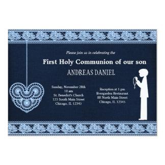 Laço do comunhão santamente (menino) convites personalizados