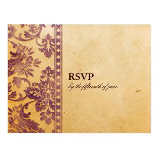 Laço do damasco do Lilac do vintage que Wedding RS Cartao Postal