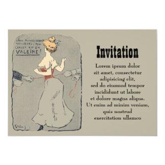 Laço do espartilho do vintage convite 12.7 x 17.78cm