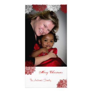 Laço do floco de neve do Feliz Natal Cartões Com Foto