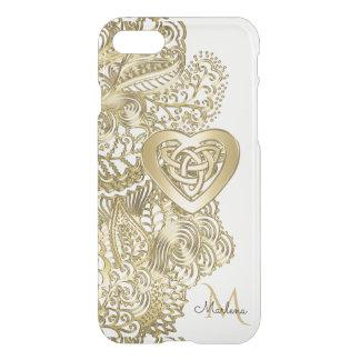 Laço do ouro do monograma e coração do céltico capa iPhone 7