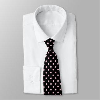 Laço do pescoço das bolinhas do rosa preto e gravata