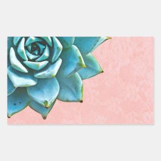 Laço do rosa da aguarela do Succulent Adesivo Retangular