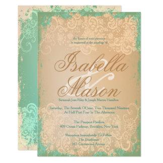 Laço do vintage & verde antigo, convites Wedding