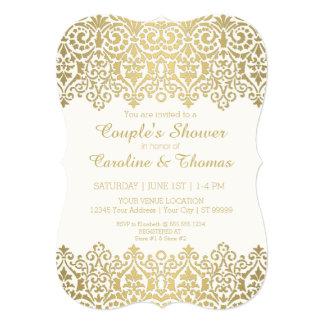 Laço dourado moderno do vintage do chá dos casais convite 12.7 x 17.78cm