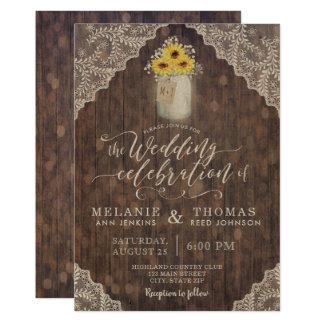 Laço e girassóis do vintage que Wedding convites