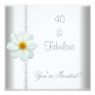 Laço fabuloso do partido de aniversário de 40 anos convite quadrado 13.35 x 13.35cm
