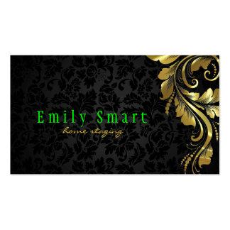 Laço floral 4 do ouro preto elegante dos damascos cartões de visita