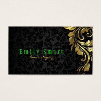 Laço floral 4 do ouro preto elegante dos damascos cartão de visitas
