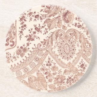 Laço floral cor-de-rosa porta copos de arenito