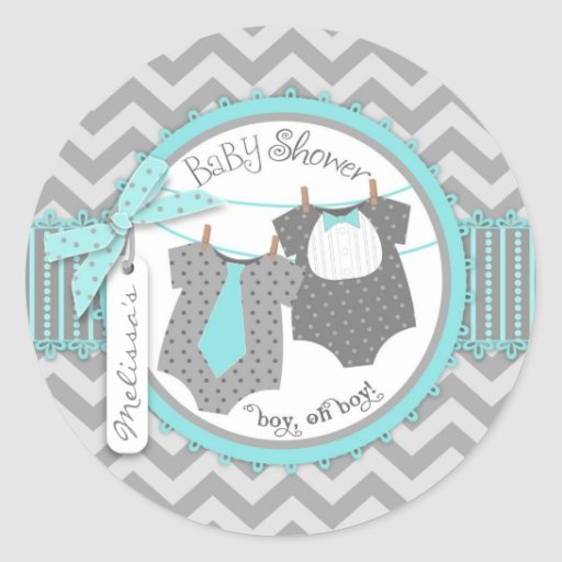 Laço, laço & chá de fraldas dos meninos do gêmeo d adesivos em formato redondos