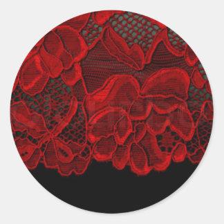 Laço preto & vermelho adesivos redondos