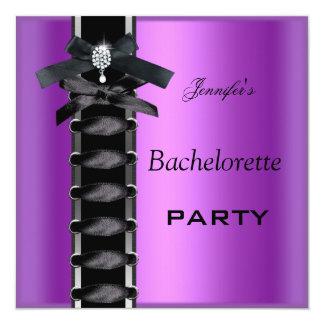 Laço roxo preto do espartilho do diamante da festa convite quadrado 13.35 x 13.35cm