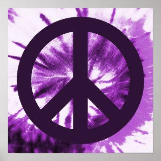 Laço-Tintura roxa com símbolo de paz Posteres