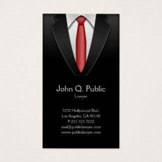 Laço vermelho do terno do preto do alfaiate do cartão de visitas