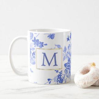 lado customizável da inicial azul da porcelana da caneca de café