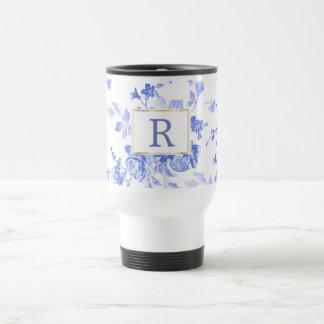 lado customizável da inicial azul da porcelana da caneca térmica