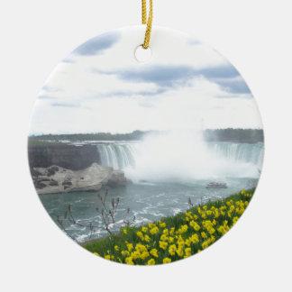 Lado do canadense de Niagara Falls Ornamento De Cerâmica Redondo