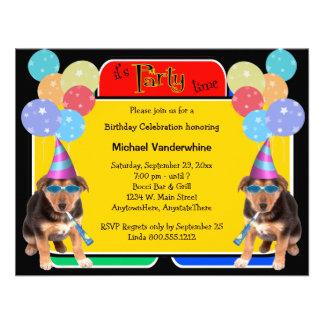 Ladrador do aniversário do filhote de cachorro do convites personalizados