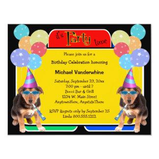 Ladrador do aniversário do filhote de cachorro do convite 10.79 x 13.97cm
