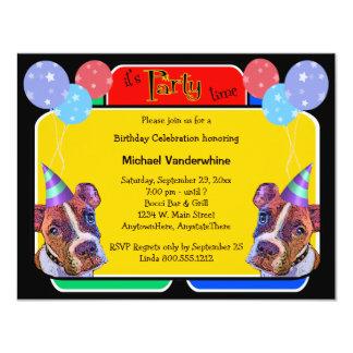 Ladrador do aniversário dos pugilistas do pop art convite 10.79 x 13.97cm