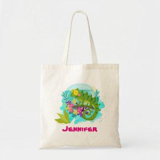 Lagarto tropical com as flores personalizadas bolsa tote