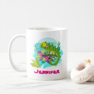 Lagarto tropical com as flores personalizadas caneca de café