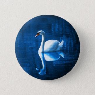 Lago branco elegante blue da calma da cisne bóton redondo 5.08cm