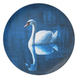 Lago branco elegante blue da calma da cisne louça de jantar