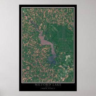 Lago Kansas Milford da arte do satélite do espaço Poster