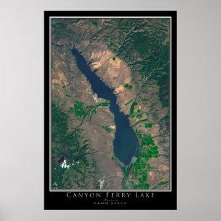 Lago Montana ferry da garganta da arte do satélite Poster