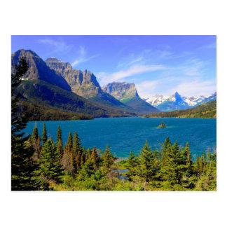 Lago st. Mary, parque nacional de geleira, Montana Cartão Postal