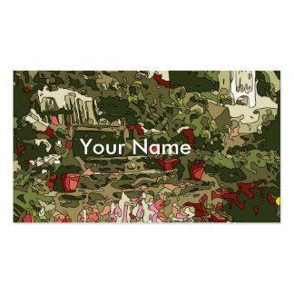 Lagoa do jardim do lírio com flores e banco modelos cartões de visitas