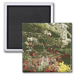 Lagoa do jardim do lírio com flores e banco imãs de refrigerador