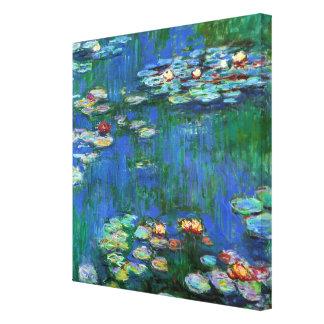 Lagoa do lírio de água no impressionismo azul impressão de canvas esticadas