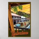Lahaina velho, poster de viagens do surf de Havaí