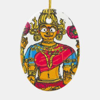 Lakshmi/Shridebi na pose da meditação Ornamento De Cerâmica