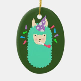 Lama de Emoji do partido do divertimento Ornamento De Cerâmica