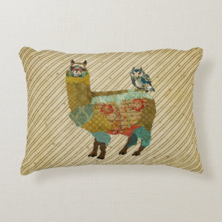 Lama do ouro & travesseiro azul da coruja almofada decorativa