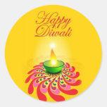 Lâmpada amarela bonita de Diwali Adesivos Em Formato Redondos