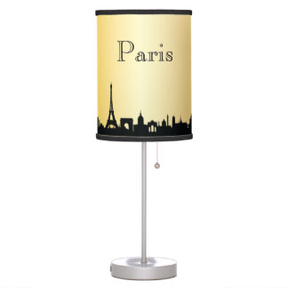 Lâmpada da silhueta da skyline de Paris do ouro