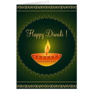Lâmpada no verde - cartão de Diwali