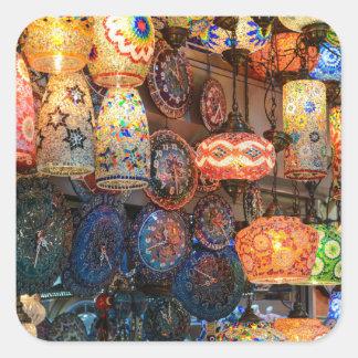 Lâmpadas de vidro turcas para a venda no mercado adesivo quadrado